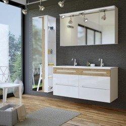 Białe meble łazienkowe z podwójną umywalką 120 cm