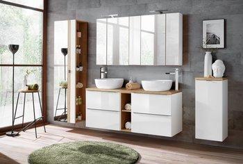 Zestaw mebli łazienkowych 140 cm Capri biały z blatem dębowym