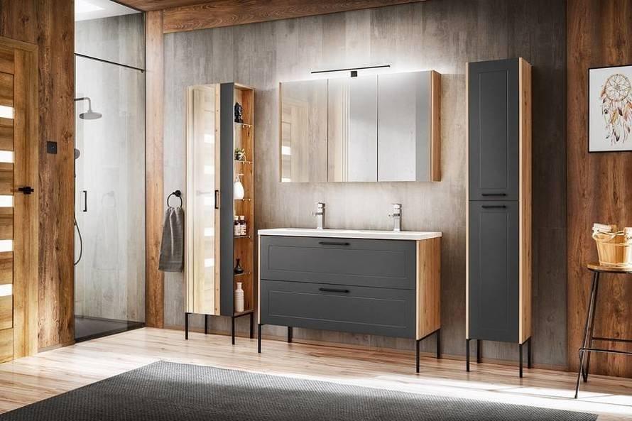 Madera Grey 820 - Szafka z umywalką 60 cm