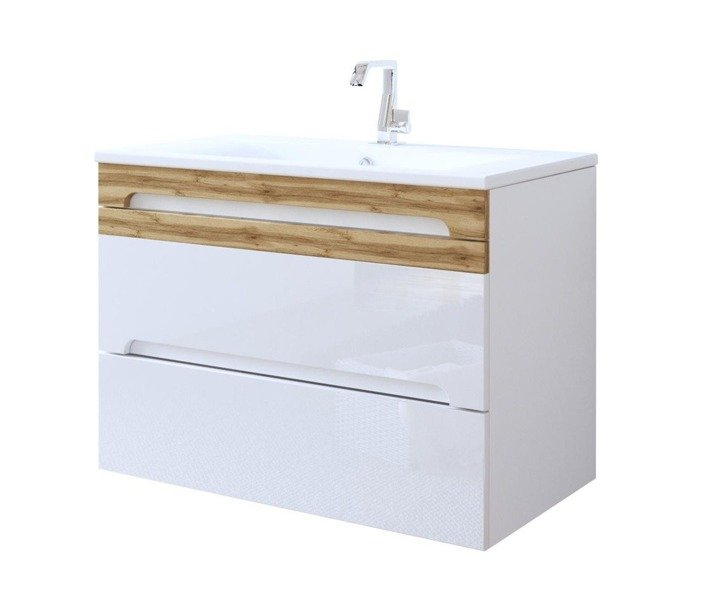 Nowoczesna szafka pod umywalkę 80 cm biały połysk Galaxy White