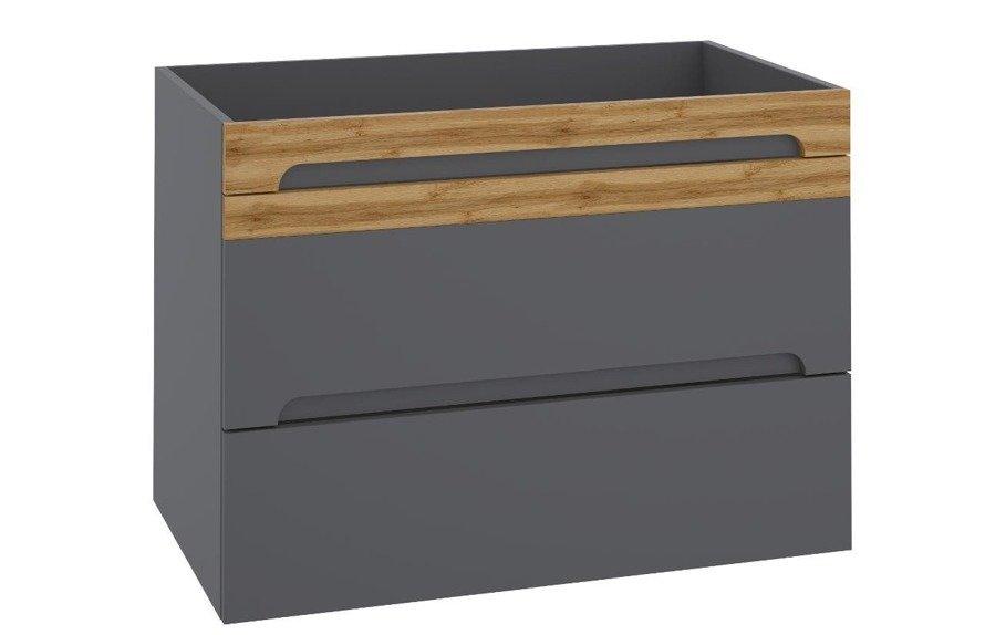 Nowoczesna szafka pod umywalkę 80 cm szary połysk Galaxy Grafit
