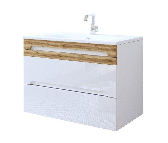 Nowoczesna szafka z umywalką 80 cm biały połysk Galaxy White