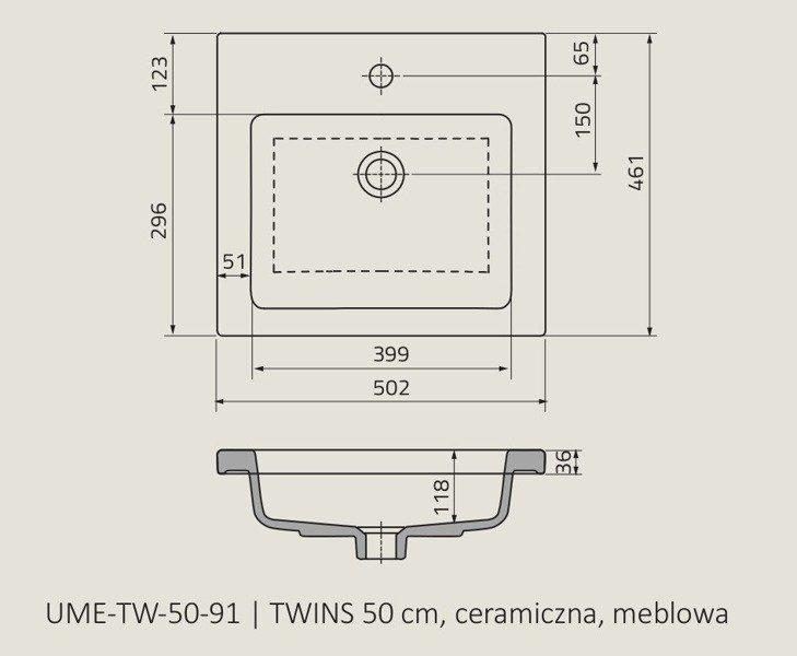Oristo Umywalka meblowa 50 cm TWINS