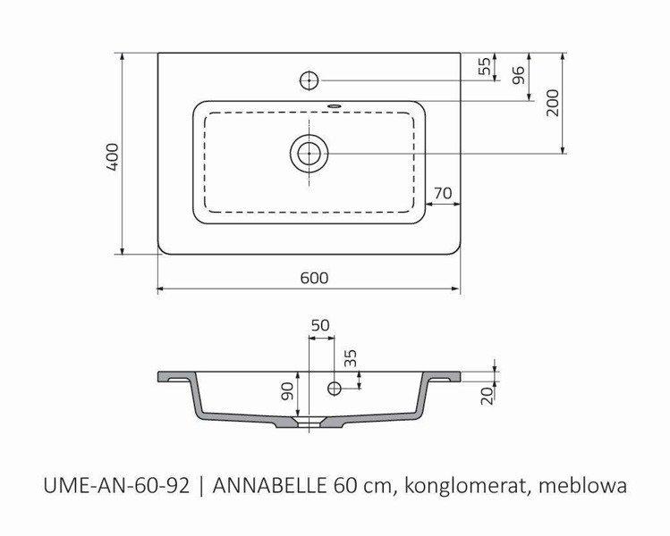 Oristo Umywalka meblowa 60 cm ANNABELLE