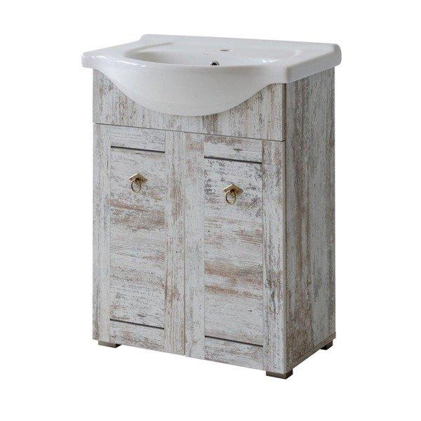 Prowansalskie meble łazienkowe z umywalką ceramiczną 65cm