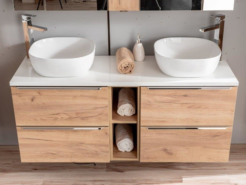 Szafki 60 cm z umywalkami, blatem i szafką niską Capri dąd 820 z białym blatem